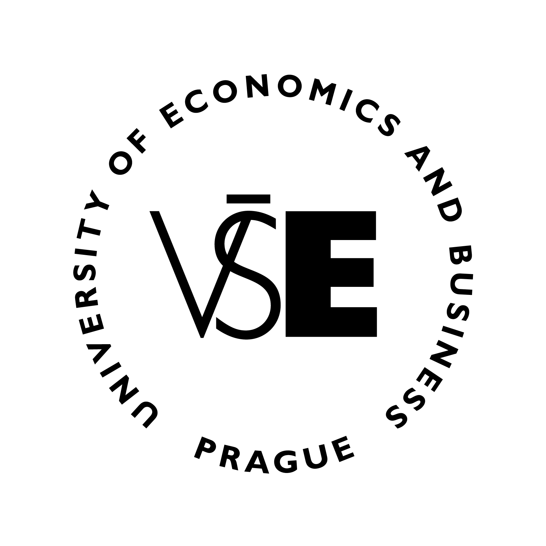 VŠE - logo black - circle - English